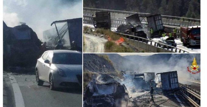 (Foto) Şofer român de TIR salvat din cabina în flăcări, în Italia. Un alt român e rănit, 3 camioane distruse 22