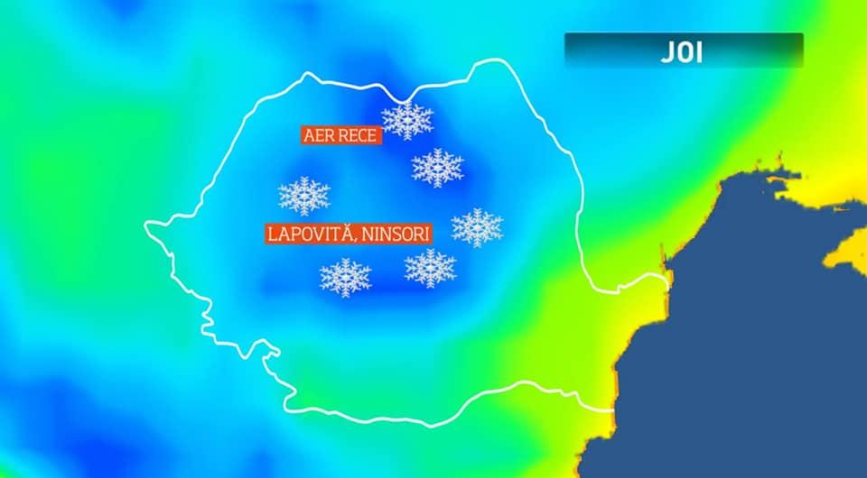 (Foto) Un val polar a intrat deja în România.  Vremea se schimbă radical. Unde a nins deja 5