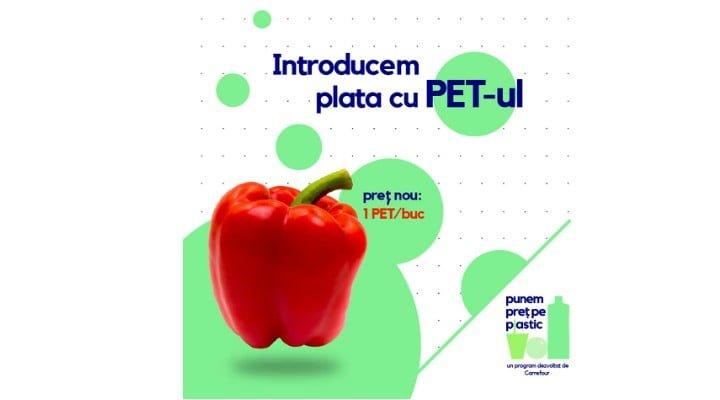"""Carrefour introduce plata cu PET-ul de plastic! """"Cumperi fructe și legume cu plastic de tip PET! Cum? Pentru fiecare PET, primești un fruct sau o legumă și ..."""" 1"""