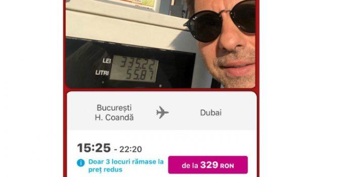 """Dan Negru: """"Am făcut un plin normal de motorină (50 l) si m-a costat 335 de Ron. Si am găsit un zbor cu avionul până-n Dubai care costă 329 RON.  Un plin de motorină in România costă cât un zbor in Dubai. De asta zic ..."""" 1"""