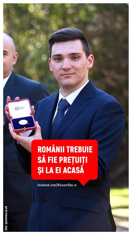 """Nicușor Dan: """"România are nevoie de astfel de oameni"""". Un tânăr român a fost premiat de Regina Marii Britanii pentru rezultate excelente la învățătură. Cornel Micu are 20 de ani și studiază Inteligența Artificială la Londra 1"""