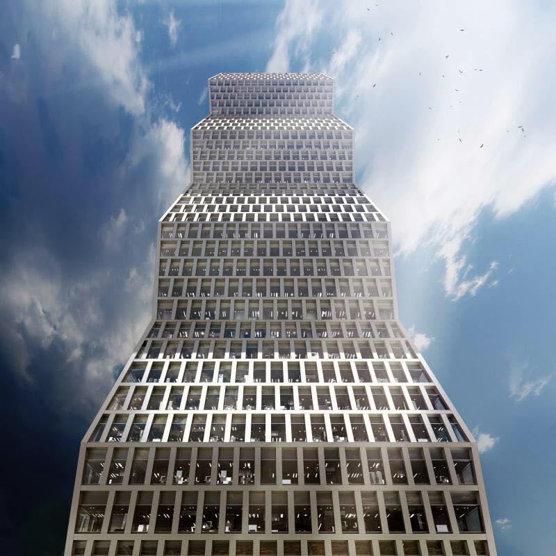 """(Foto) Clădire din China inspirată după """"Coloana Infinitului"""" a lui Constantin Brâncuși.  Turnul se manifestă ca un obelisc cu un profil zig-zag în formă de diagonală 3"""