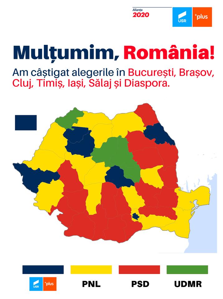 """Cosmin Alexandru: """"E oficial. Dragnea a eliberat țara de PSD. Gata, poate să plece"""" Alianța 2020 USR PLUS a câștigat alegerile in: 2"""