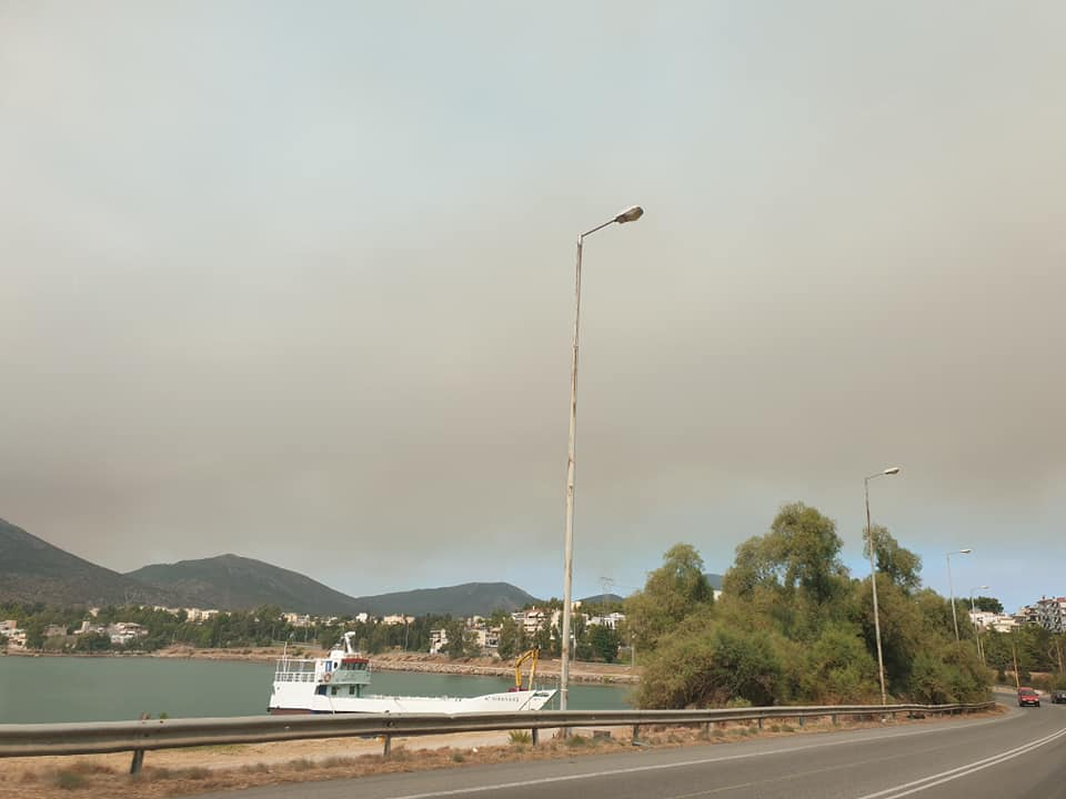 """(Foto) Româncă în Grecia. """"Cam asa arata cerul înspre Atena...Fum, cenușă in aer si avioane care se chinuie sa stingă incendiile..."""" 2"""