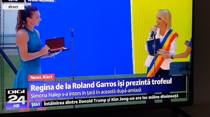 """(Video) EPIC! """"Gabriela Firea a fost huiduită copios pe stadionul Național pentru că a vrut în mod nerușinat să confiște momentul de glorie dedicat Simonei Halep, un om și un sportiv minunat. Firea și-a luat imediat tălpășița.  Simona a ..."""" 1"""