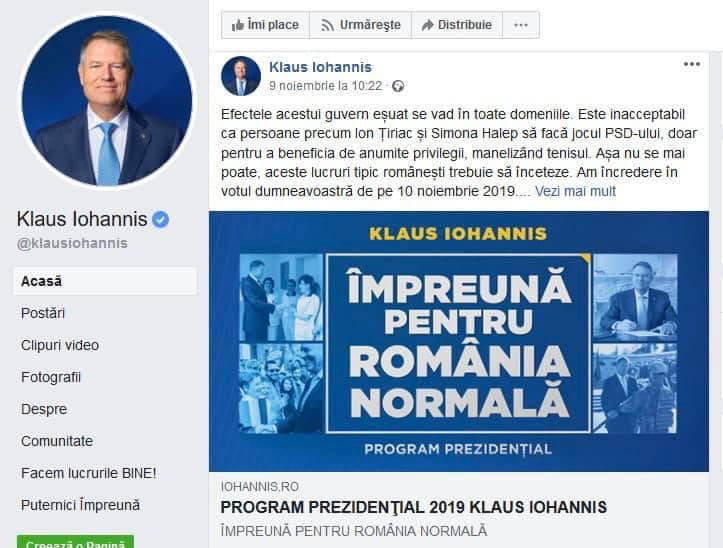 """Clonare. Rares Bogdan: """"Pagina de Facebook a președintelui României a fost clonată!"""" Mesaj impotriva Simonei Halep 1"""