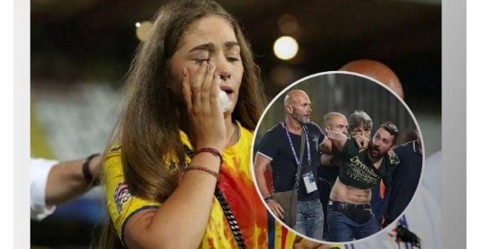 """Prima imagine cu fanul reţinut după ce iubita lui Manea a fost umplută de sânge. Rădoi: """"Noi între noi, suporteri români, au lovit-o fără niciun motiv pe prietena lui Manea şi chiar şi pe un prieten de-al lor.  Îmi e greu să vă ..."""" 3"""