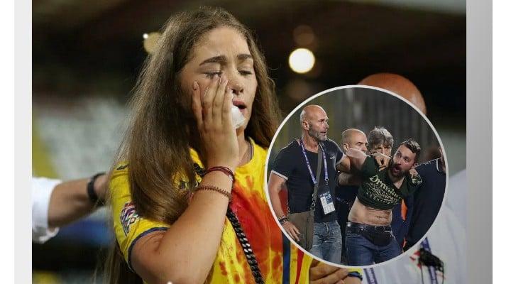 """Prima imagine cu fanul reţinut după ce iubita lui Manea a fost umplută de sânge. Rădoi: """"Noi între noi, suporteri români, au lovit-o fără niciun motiv pe prietena lui Manea şi chiar şi pe un prieten de-al lor.  Îmi e greu să vă ..."""" 1"""