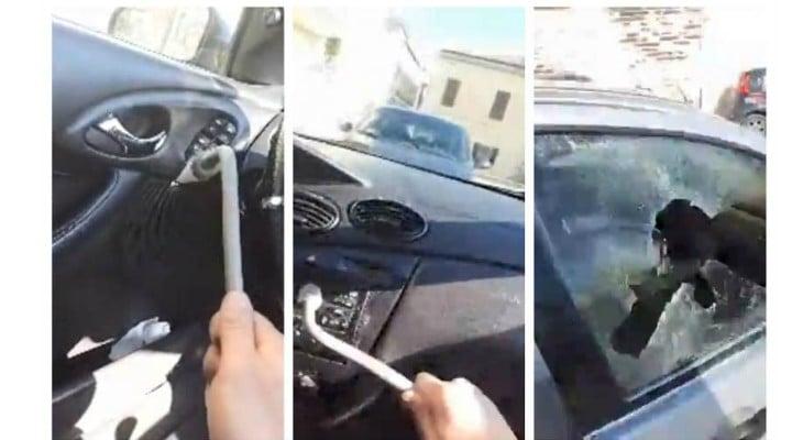 """(Video) Român supărat din Italia își distruge cu levierul, Live pe Facebook, maşina confiscată de carabinieri: """"Ia, Salvini, maşină"""" 1"""