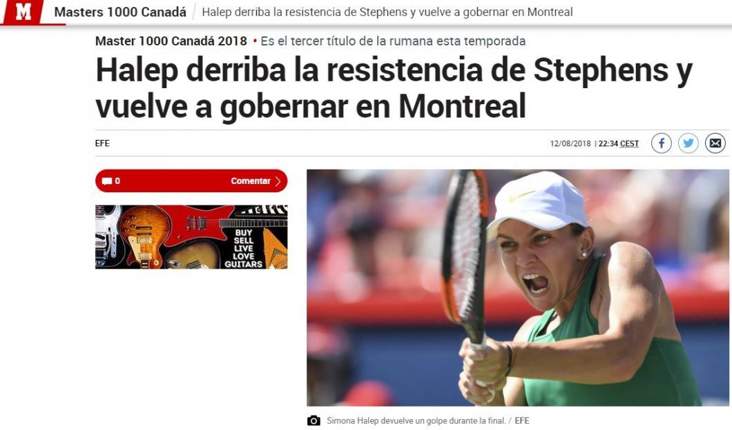Simona Halep, ce spune presa internațională despre victoria din finala de la Montreal 3