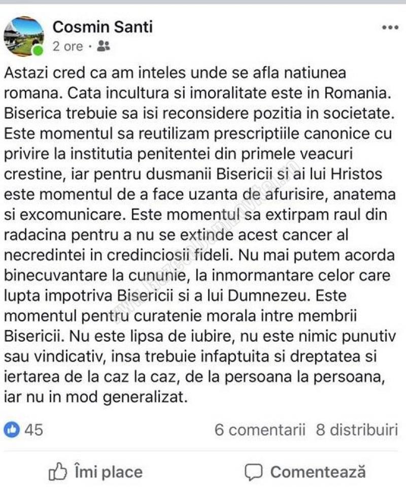 """Este corect? Un preot din România recomandă excomunicarea celor care nu au votat la referendum?! """"Astăzi cred că am înțeles unde se află națiunea română. Câtă incultură și imoralitate este în România. Biserica trebuie să ..."""" 1"""