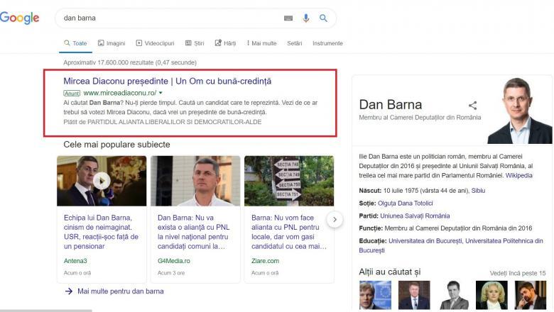 """Cum îl trolează Mircea Diaconu pe Dan Barna pe Google: """"Ai căutat Dan Barna? Nu-ți pierde timpul"""". Reacția USR 1"""