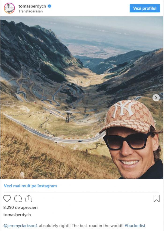 """""""Ai dreptate, Transfăgărășan chiar este cel mai frumos drum din lume"""". Tenismenul Tomas Berdych, mesaj pentru Jeremy Clarkson 1"""