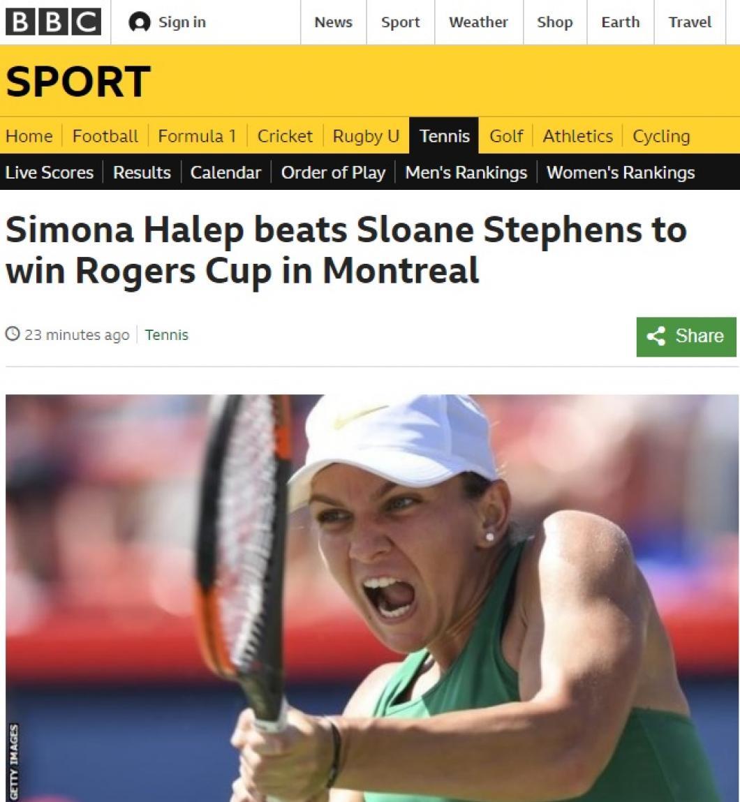 Simona Halep, ce spune presa internațională despre victoria din finala de la Montreal 1