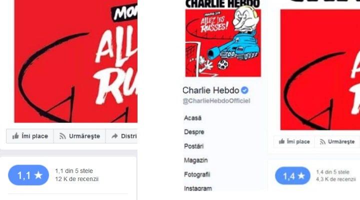 Update. RĂZBUNAREA Românilor, după jignirea Simonei Halep! Alți 9.000 de români au luat cu asalt pagina de Facebook Charlie Hebdo. Ratingul le-a scăzut și mai mult! 1