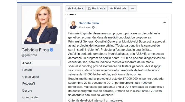 Update. Gabriela Firea și-a redeschis pagina de Facebook. Primul mesaj de la revenire 1