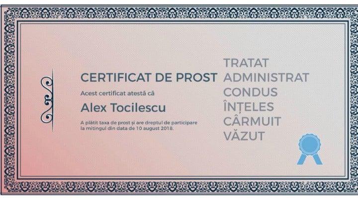 """Au apărut """"certificatele de prost"""" la sugestia europarlamentarului Maria Grapini. Shere Marinescu: """"Nu, nu suntem proști, suntem prost administrați, prost guvernați, prost conduși. Dacă vreți să o enervați cu adevărat pe Grapini și să ne ajutați să ..."""" 1"""