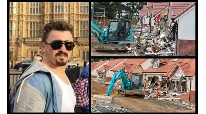 """(Foto) Românul din Marea Britanie care a distrus cu excavatorul case în valoare de 4 milioane de lire, la Londra, a pledat nevinovat: """"Râdea şi făcea poze"""" 1"""