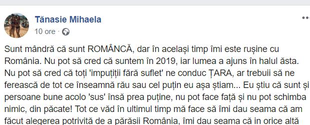 """Mihaela: """"Sunt mândră că sunt ROMÂNCĂ, dar în același timp îmi este rușine cu România.... nu sunteți în stare să opriți răpitorii, violatorii, criminalii, pe nimeni care ne trage țara in jos. Mi-e greu să cred că ..."""" 2"""