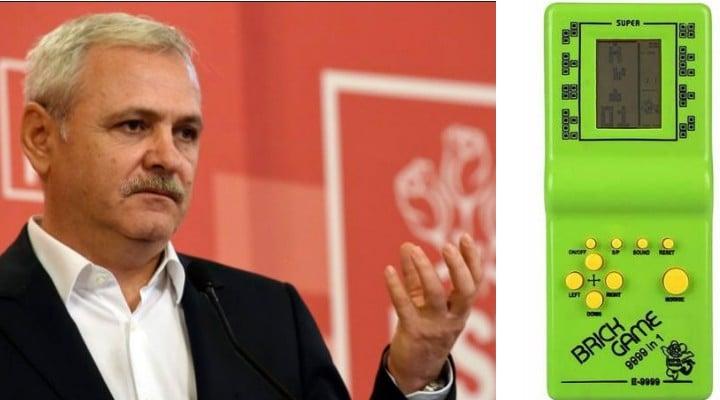 """Liviu Dragnea a primit un cadou special de la iubita sa: un joc Tetris """"Brick Game 9999"""". Tu când ai jucat ultima oară un astfel de joc? 1"""