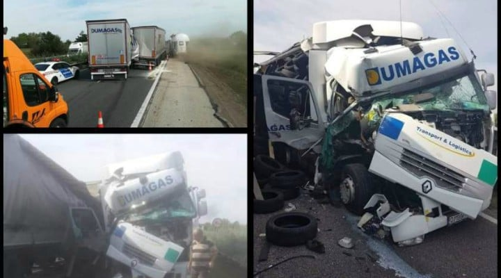 (Foto) Un şofer român de TIR a avut zile. A scăpat cu viaţă dintr-un accident teribil, în Ungaria 2